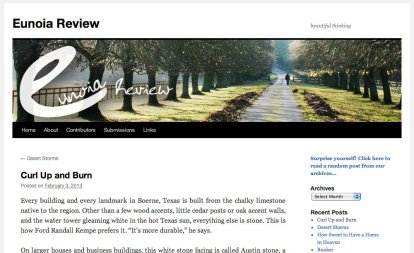 """My story, """"Curl Up and Burn,"""" in Eunoia Review, 3 February 2013."""