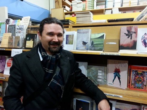 Me with my book at Powell's City of Books in downtown Portland.