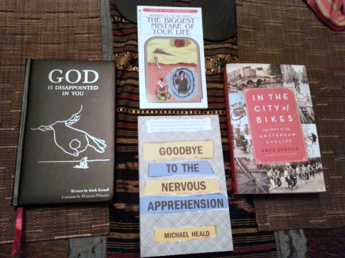Our haul from Reading Frenzy (we had previously purchased God Is Disappointed In You, but we brought it along for Mark Russell to sign).