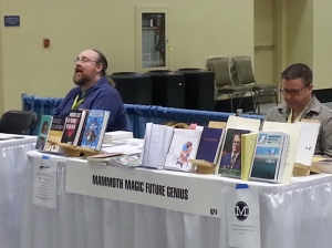 Rusty Barnes at the Night Train table (Night Train is back!) and Kevin Sampsell at the a big mash-up table that includes Sampsell's press, Future Tense