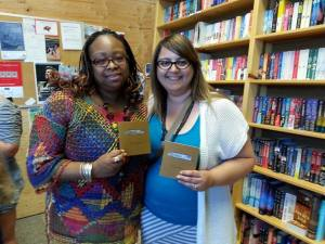 Rhonda C. and Rima A. with Box Cutters at Powell's!