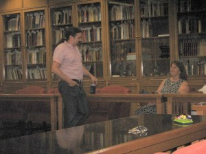 Chatting beforehand with my biology professor, Dr. Diana Comuzzi.