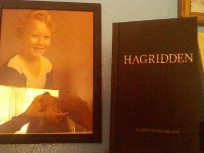 My own mother sent this photo in. Yes, that's a very young me next to my mom's copy of Hagridden.