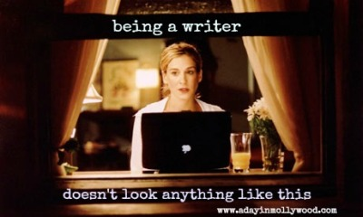 I found this PERFECT image on the A Day in Mollywood blog. Click it to go to her post on being a writer.