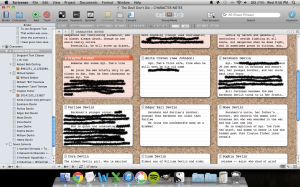 Some of my actual character notes in Scrivener. (I've redacted some details -- can't give everything away!)
