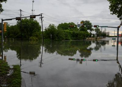 An intersection is flooded in San Marcos. REUTERS/Don Anders/Anders Photography/Handout    (retreived via Yahoo News)
