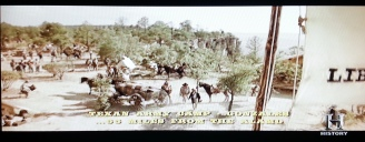 The cliffside Texas army camp as portrayed in Texas Rising
