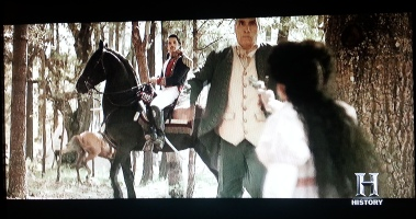 Look at how little Santa Anna cares that his manservant gets shot. He must be evil.