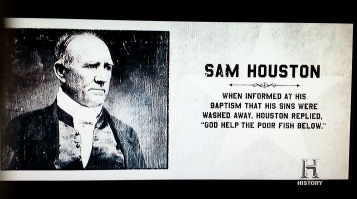 Most of the character cards at the end of the series were thin or bizarre, but I liked this one on Sam Houston.