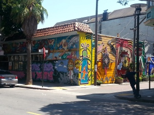 Artistic buildings in the Mission District of San Francisco.