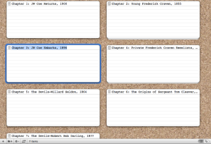 My current (but certainly not my last) iteration of my chapters outline, in Scrivener.