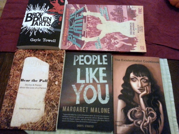 Clockwise from top-left: BODY PARTS, by Gayle Towell; BITCH PLANET, by name; TITLE by Shawne ???; PEOPLE LIKE YOU, by Margaret Malone; BEAR THE PALL, edited by Sally K. Lehman