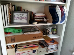 My notebooks and journals, writing magazines, and a box of literary keepsakes.