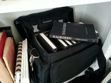 My bookselling bag (a repurposed camera bag).