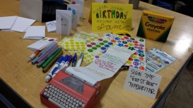 """Birthday messages in the """"creativity corner"""" (photo by JSB)"""