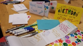 """Birthday messages and microbooks in the """"creativity corner"""" (photo by JSB)"""