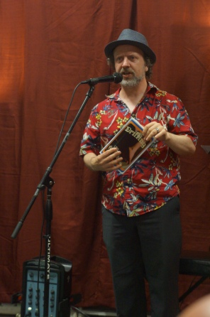 . . . while Portland author Todd McNamee had us nearly in tears with his opening from the novel Drifting (photo by LS)