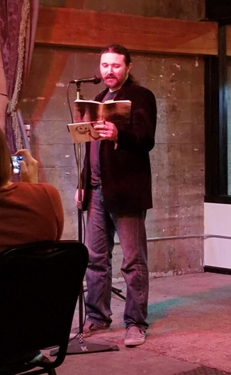 Reading from Where There Is Ruin -- yes, that's my proof copy of the chapbook!
