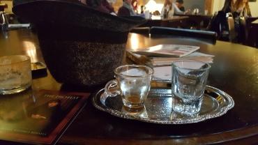 My espresso tray (and my tweed hat from Krems an der Donau, Autsria)