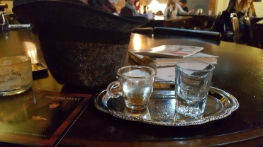 My espresso tray (and my tweed hat from Krems an der Donau, Autsria)