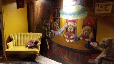 This is seriously the mural and furniture in the back passage leading to B Sharp's restrooms!