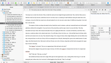 And here is a page of the story in Scrivener.