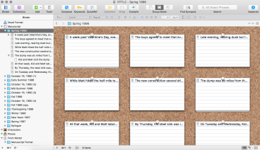 "Here's the outline of my novel as notecards on Scrivener's ""bulletin board"""